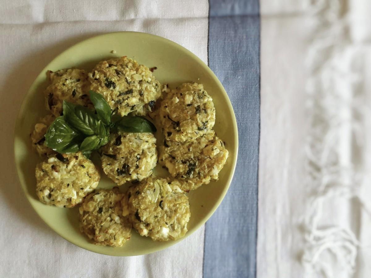Galettes de courgettes, quinoa et feta