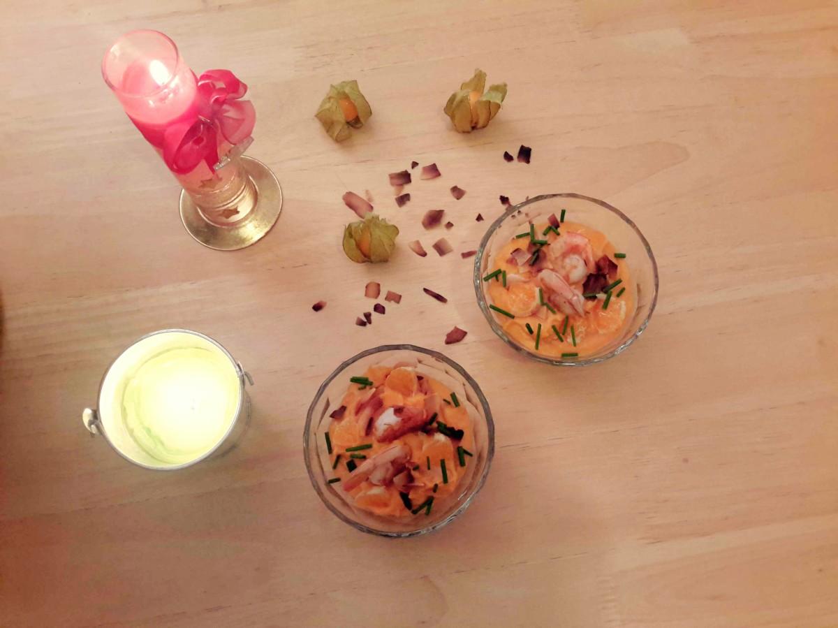 Verrines de crevettes sautées, patate douce, coco et clémentines